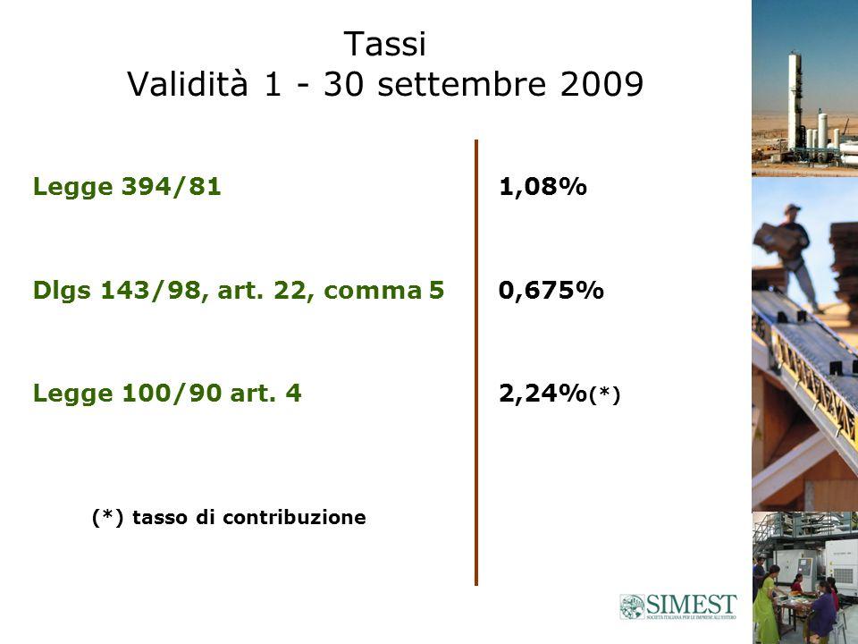 Tassi Validità 1 - 30 settembre 2009 Legge 394/81 Dlgs 143/98, art.