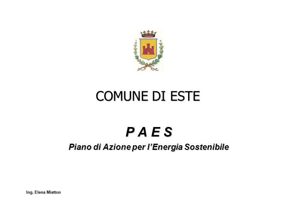 COMUNE DI ESTE P A E S Piano di Azione per lEnergia Sostenibile Ing. Elena Miatton