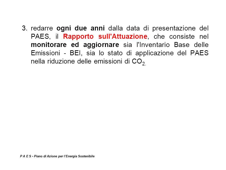 P A E S - Piano di Azione per lEnergia Sostenibile 3.redarre ogni due anni dalla data di presentazione del PAES, il Rapporto sull'Attuazione, che cons