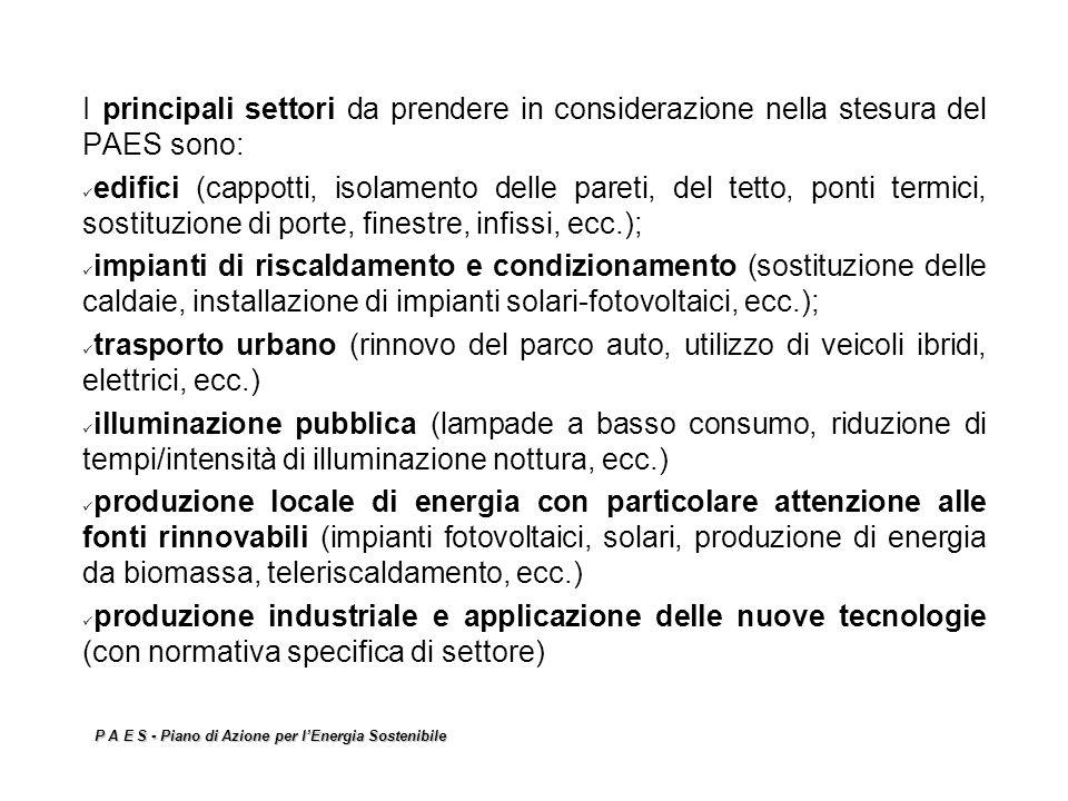 P A E S - Piano di Azione per lEnergia Sostenibile I principali settori da prendere in considerazione nella stesura del PAES sono: edifici (cappotti,