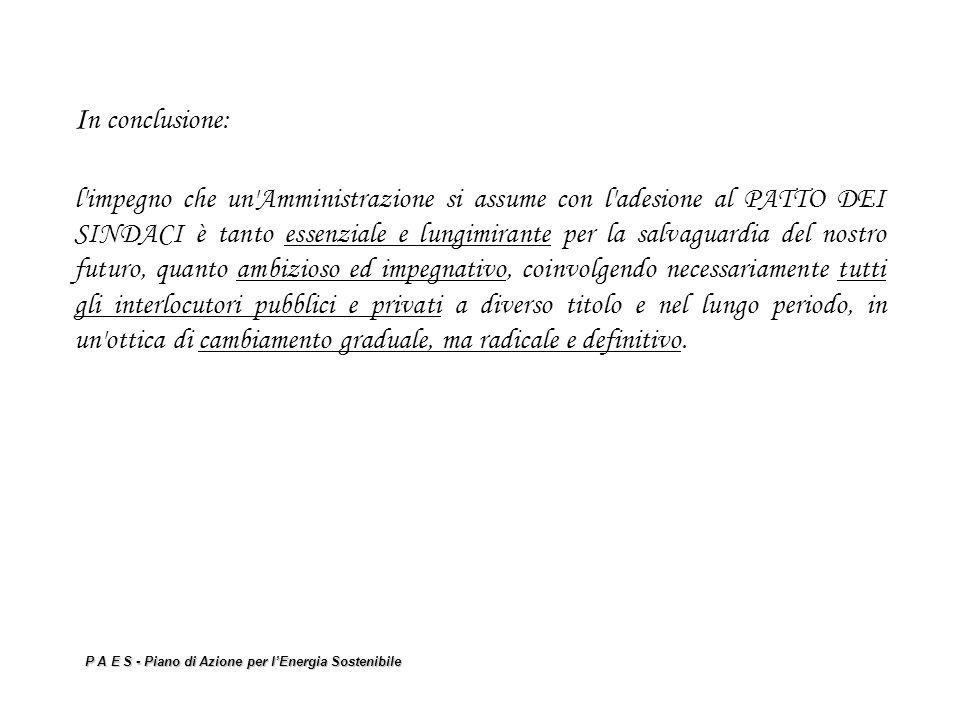 P A E S - Piano di Azione per lEnergia Sostenibile I n conclusione: l'impegno che un'Amministrazione si assume con l'adesione al PATTO DEI SINDACI è t