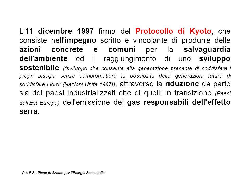 P A E S - Piano di Azione per lEnergia Sostenibile L'11 dicembre 1997 firma del Protocollo di Kyoto, che consiste nell'impegno scritto e vincolante di