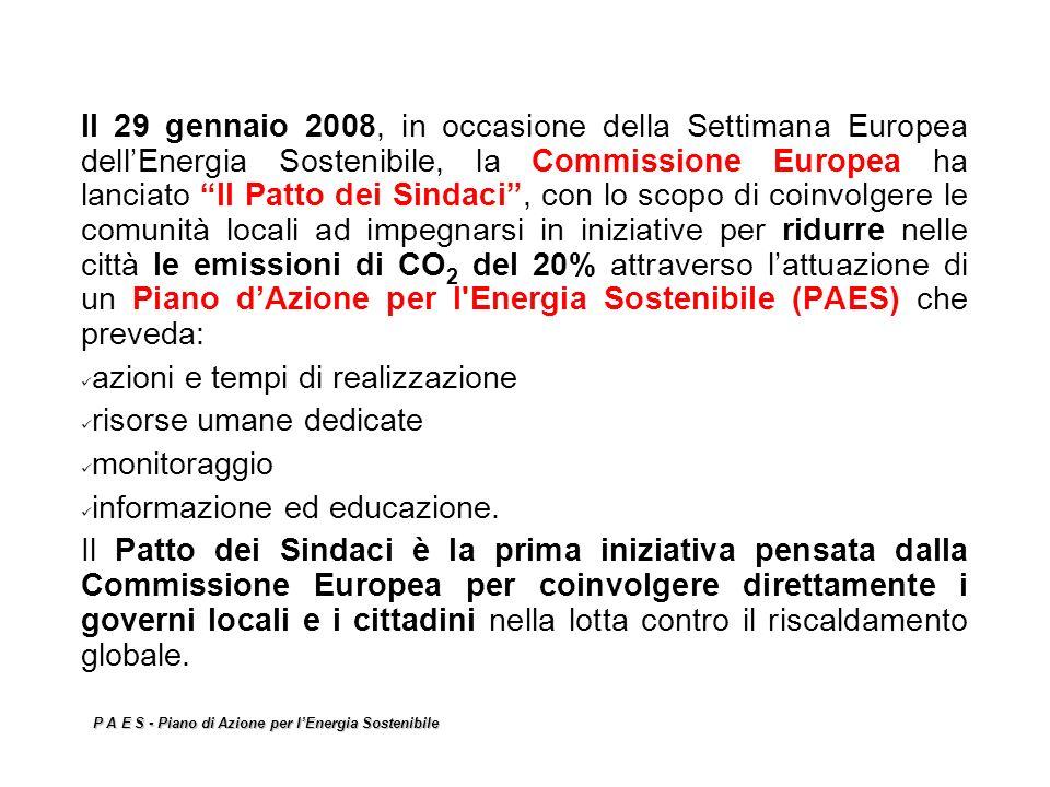 P A E S - Piano di Azione per lEnergia Sostenibile Il 29 gennaio 2008, in occasione della Settimana Europea dellEnergia Sostenibile, la Commissione Eu