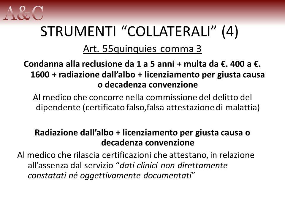 STRUMENTI COLLATERALI (4) Art. 55quinquies comma 3 Condanna alla reclusione da 1 a 5 anni + multa da. 400 a. 1600 + radiazione dallalbo + licenziament