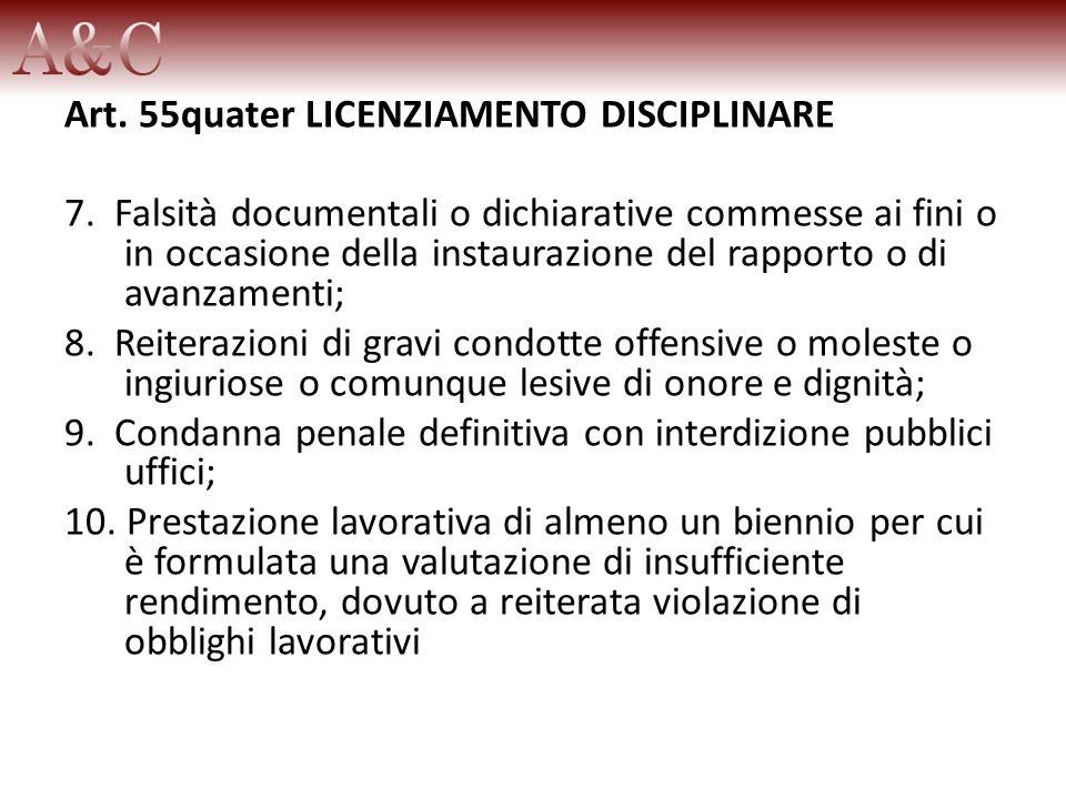 Art. 55quater LICENZIAMENTO DISCIPLINARE 7. Falsità documentali o dichiarative commesse ai fini o in occasione della instaurazione del rapporto o di a