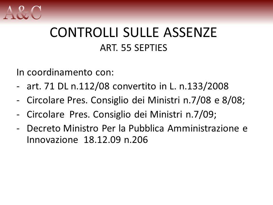 CONTROLLI SULLE ASSENZE ART. 55 SEPTIES In coordinamento con: -art. 71 DL n.112/08 convertito in L. n.133/2008 -Circolare Pres. Consiglio dei Ministri