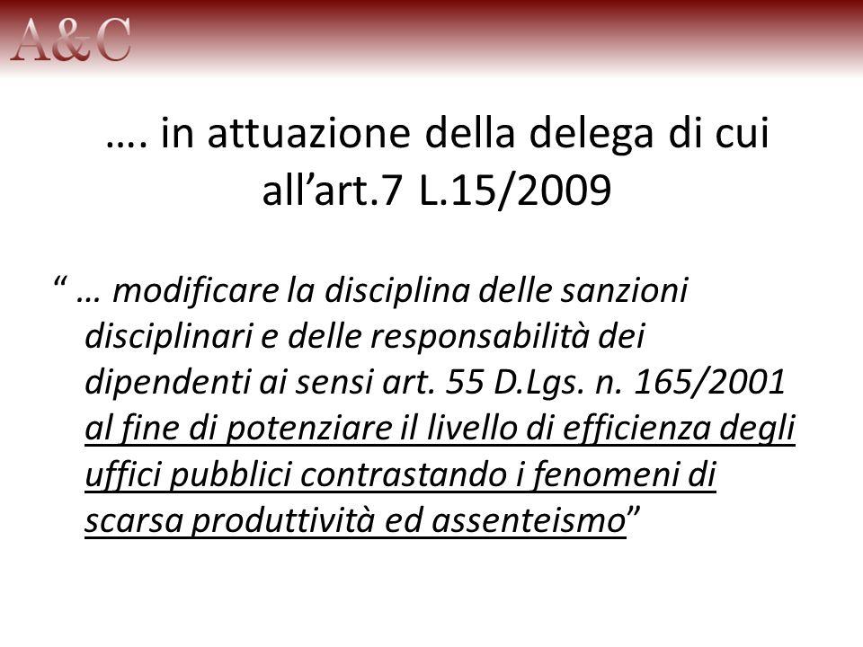 …. in attuazione della delega di cui allart.7 L.15/2009 … modificare la disciplina delle sanzioni disciplinari e delle responsabilità dei dipendenti a