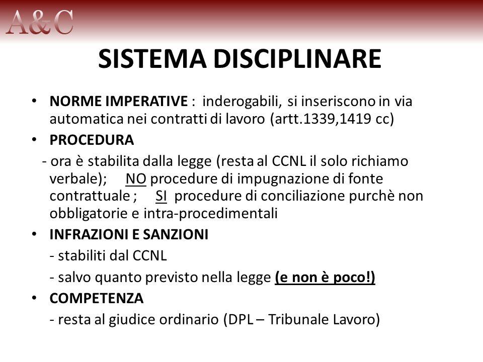 SISTEMA DISCIPLINARE NORME IMPERATIVE : inderogabili, si inseriscono in via automatica nei contratti di lavoro (artt.1339,1419 cc) PROCEDURA - ora è s