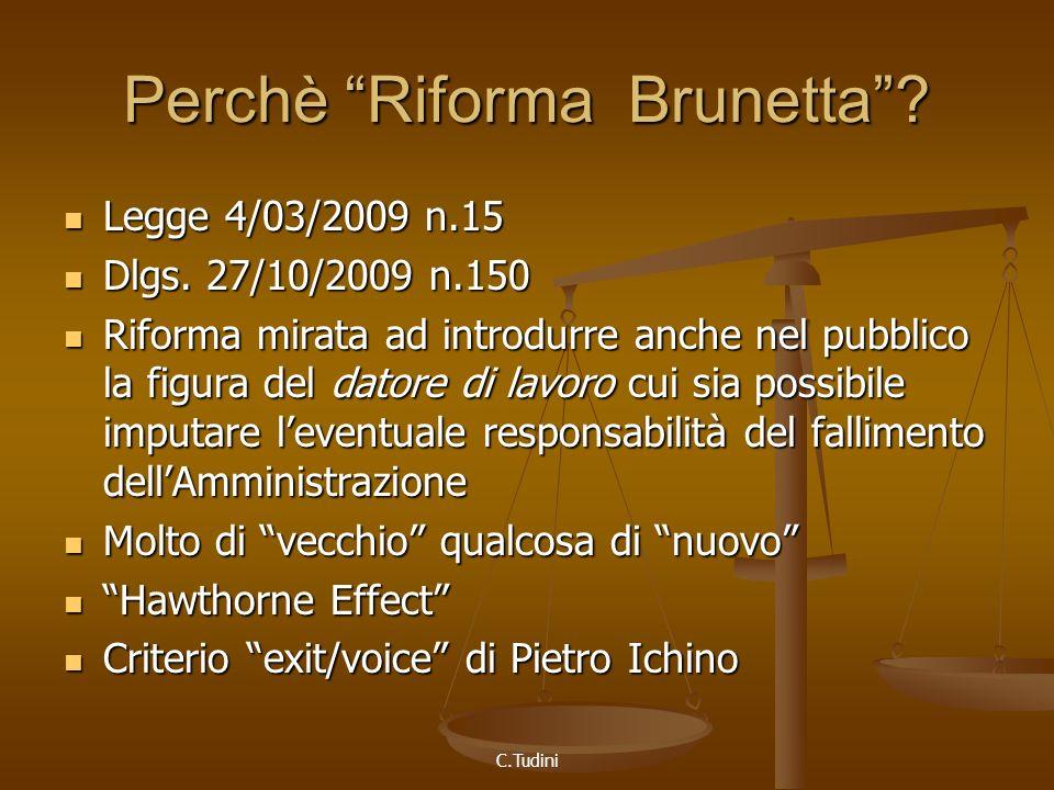 C.Tudini Perchè Riforma Brunetta. Legge 4/03/2009 n.15 Legge 4/03/2009 n.15 Dlgs.