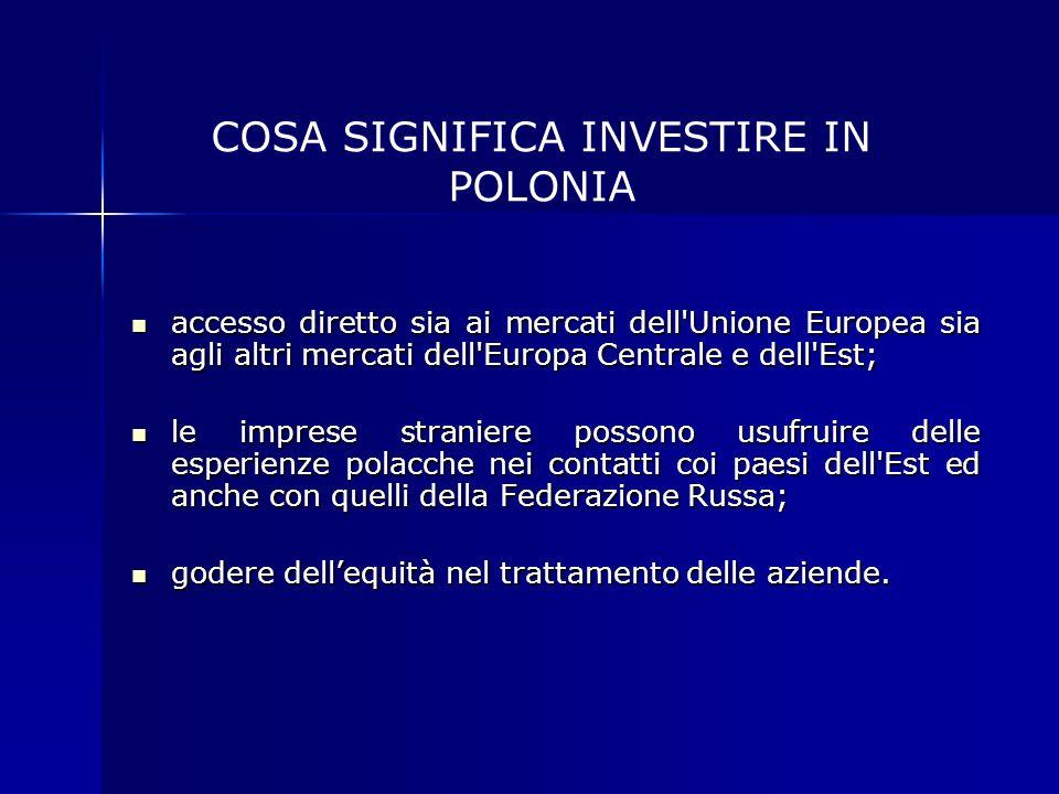 accesso diretto sia ai mercati dell'Unione Europea sia agli altri mercati dell'Europa Centrale e dell'Est; accesso diretto sia ai mercati dell'Unione
