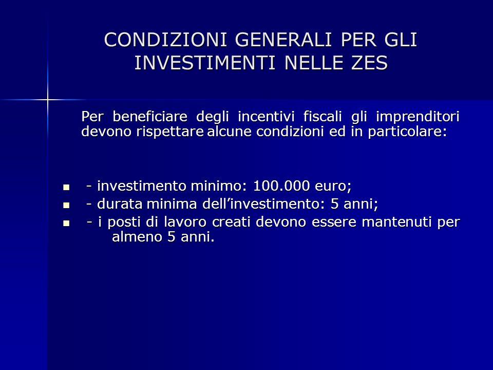 CONDIZIONI GENERALI PER GLI INVESTIMENTI NELLE ZES Per beneficiare degli incentivi fiscali gli imprenditori devono rispettare alcune condizioni ed in