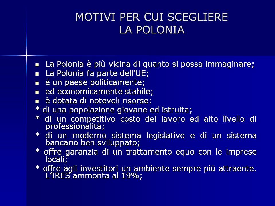 MOTIVI PER CUI SCEGLIERE LA POLONIA MOTIVI PER CUI SCEGLIERE LA POLONIA La Polonia è più vicina di quanto si possa immaginare; La Polonia è più vicina
