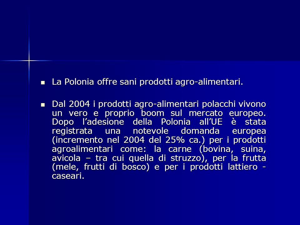 La Polonia offre sani prodotti agro-alimentari. La Polonia offre sani prodotti agro-alimentari. Dal 2004 i prodotti agro-alimentari polacchi vivono un