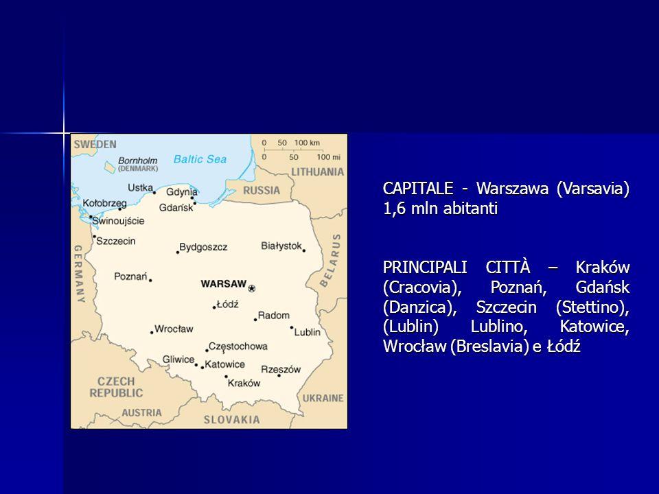 CAPITALE - Warszawa (Varsavia) 1,6 mln abitanti PRINCIPALI CITTÀ – Kraków (Cracovia), Poznań, Gdańsk (Danzica), Szczecin (Stettino), (Lublin) Lublino,