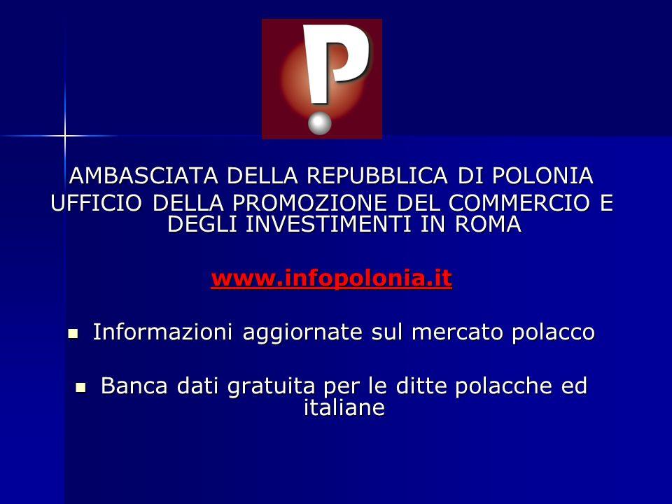 AMBASCIATA DELLA REPUBBLICA DI POLONIA UFFICIO DELLA PROMOZIONE DEL COMMERCIO E DEGLI INVESTIMENTI IN ROMA www.infopolonia.it Informazioni aggiornate