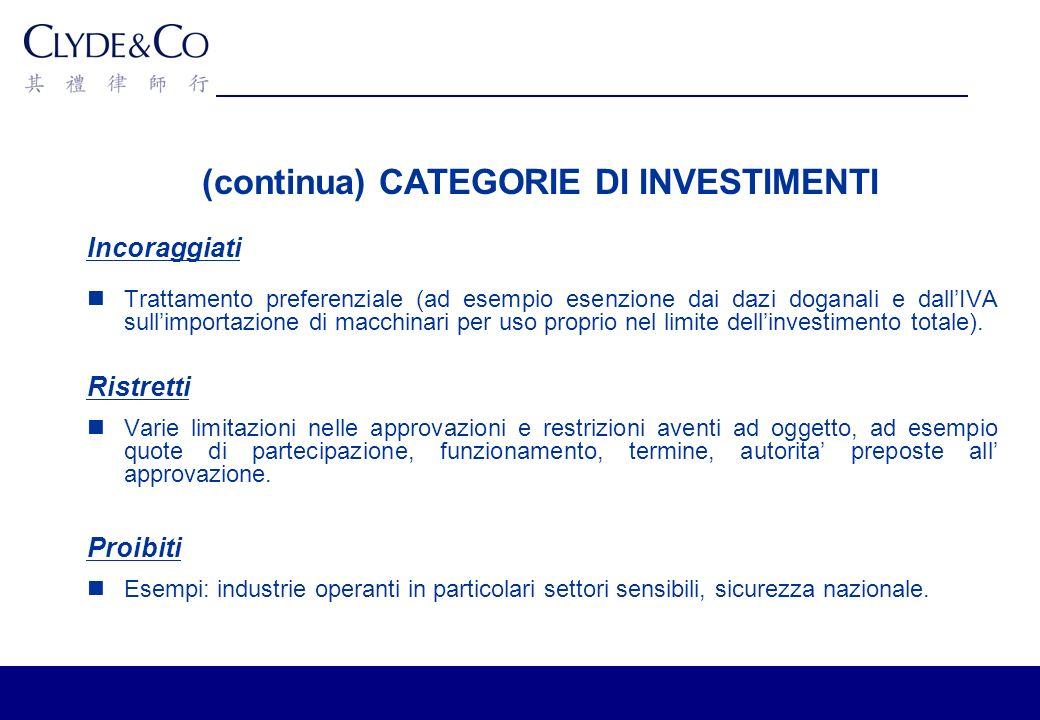 (continua) CATEGORIE DI INVESTIMENTI Incoraggiati Trattamento preferenziale (ad esempio esenzione dai dazi doganali e dallIVA sullimportazione di macchinari per uso proprio nel limite dellinvestimento totale).