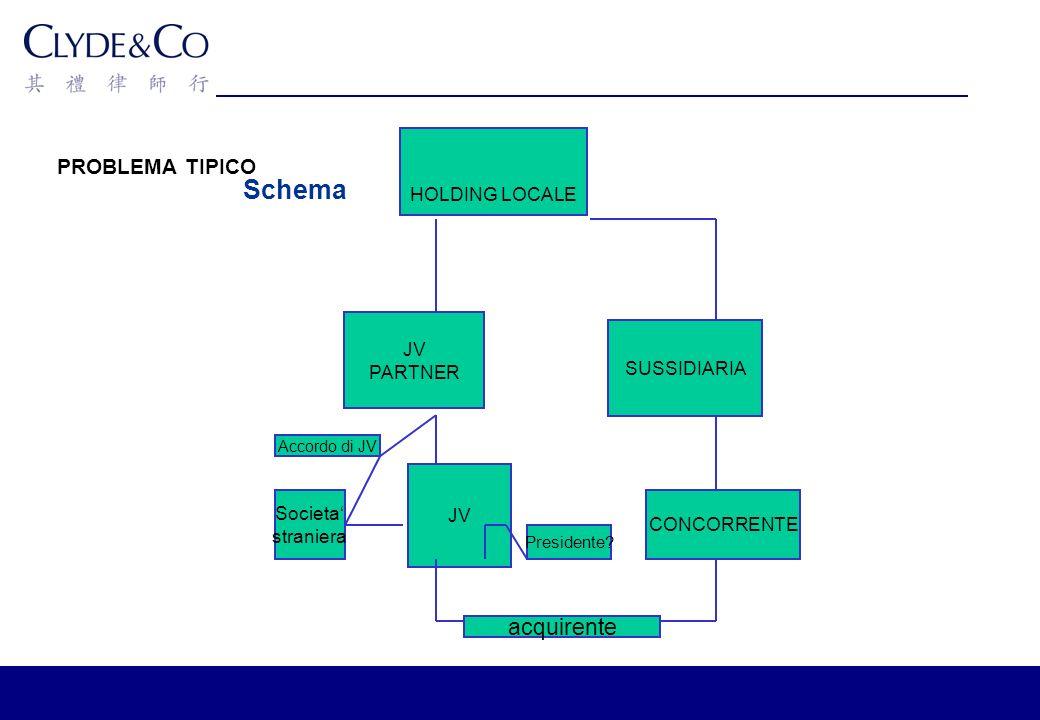 PROBLEMA TIPICO Schema HOLDING LOCALE JV PARTNER SUSSIDIARIA JV CONCORRENTE Societa straniera acquirente Presidente.