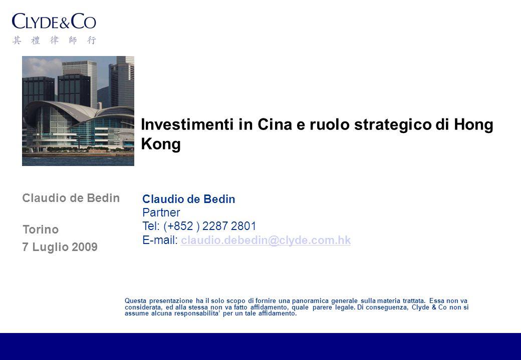 Claudio de Bedin Torino 7 Luglio 2009 Questa presentazione ha il solo scopo di fornire una panoramica generale sulla materia trattata.