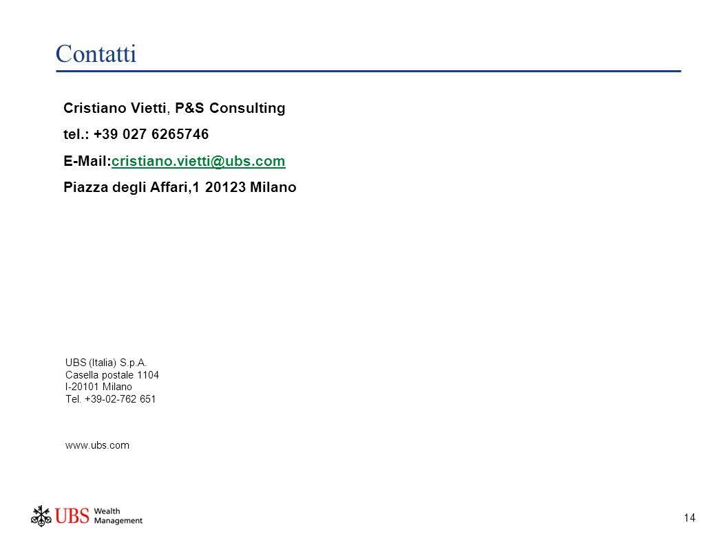 14 Contatti UBS (Italia) S.p.A. Casella postale 1104 I-20101 Milano Tel.
