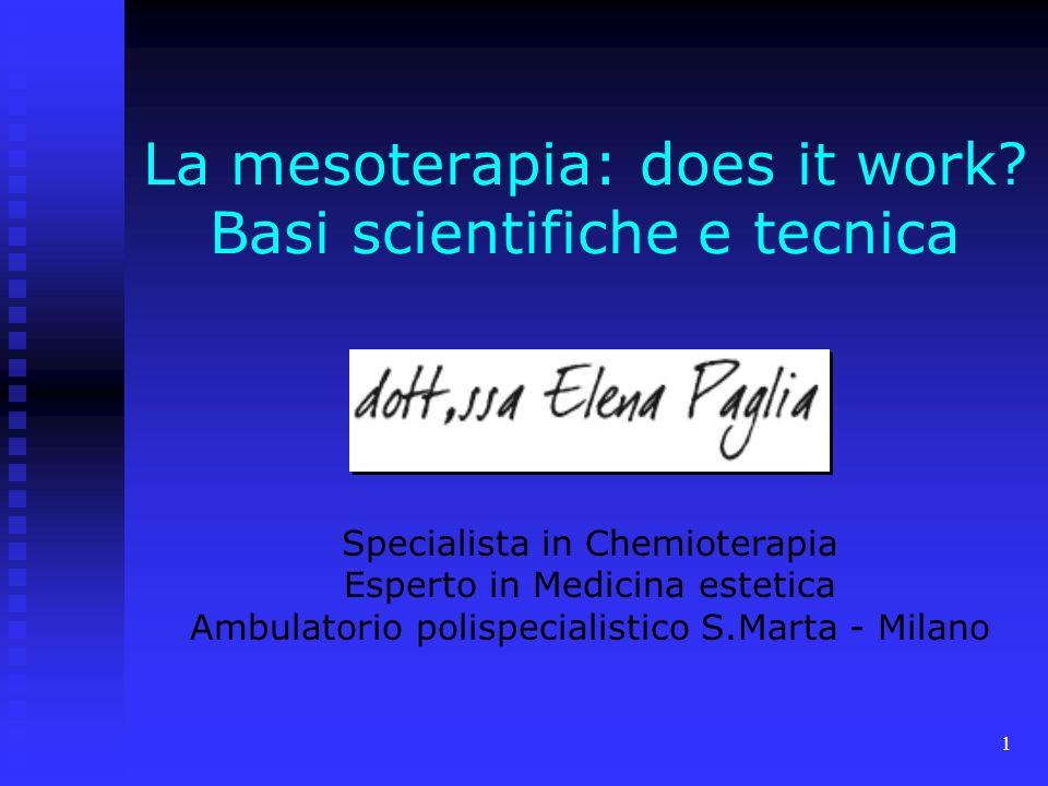 1 La mesoterapia: does it work.