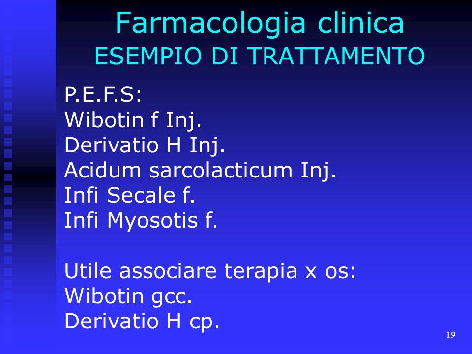 19 Farmacologia clinica ESEMPIO DI TRATTAMENTO P.E.F.S: Wibotin f Inj.