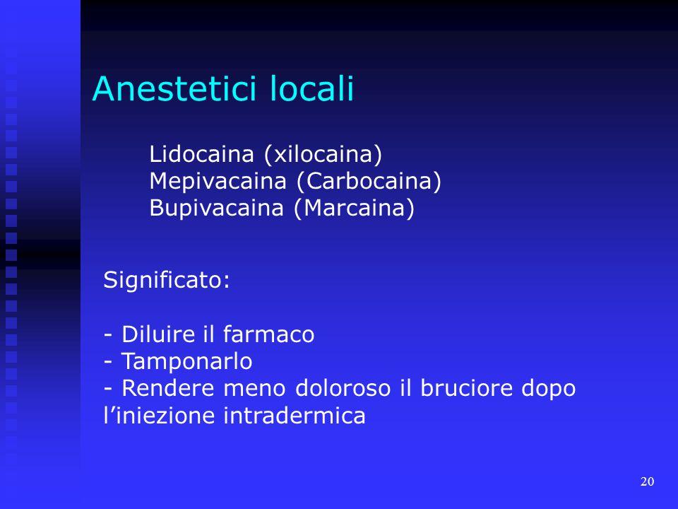 20 Anestetici locali Lidocaina (xilocaina) Mepivacaina (Carbocaina) Bupivacaina (Marcaina) Significato: - Diluire il farmaco - Tamponarlo - Rendere meno doloroso il bruciore dopo liniezione intradermica