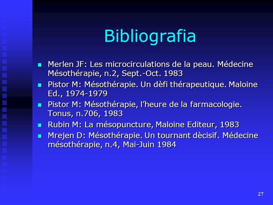 27 Bibliografia Merlen JF: Les microcirculations de la peau.