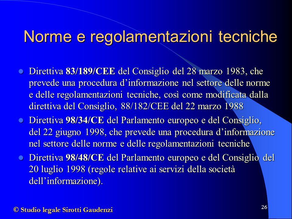 26 Norme e regolamentazioni tecniche Direttiva 83/189/CEE del Consiglio del 28 marzo 1983, che prevede una procedura dinformazione nel settore delle norme e delle regolamentazioni tecniche, così come modificata dalla direttiva del Consiglio, 88/182/CEE del 22 marzo 1988 Direttiva 83/189/CEE del Consiglio del 28 marzo 1983, che prevede una procedura dinformazione nel settore delle norme e delle regolamentazioni tecniche, così come modificata dalla direttiva del Consiglio, 88/182/CEE del 22 marzo 1988 Direttiva 98/34/CE del Parlamento europeo e del Consiglio, del 22 giugno 1998, che prevede una procedura dinformazione nel settore delle norme e delle regolamentazioni tecniche Direttiva 98/34/CE del Parlamento europeo e del Consiglio, del 22 giugno 1998, che prevede una procedura dinformazione nel settore delle norme e delle regolamentazioni tecniche Direttiva 98/48/CE del Parlamento europeo e del Consiglio del 20 luglio 1998 (regole relative ai servizi della società dellinformazione).