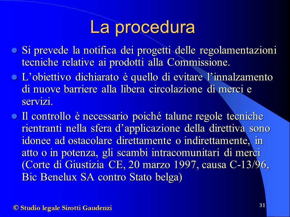 31 La procedura Si prevede la notifica dei progetti delle regolamentazioni tecniche relative ai prodotti alla Commissione.