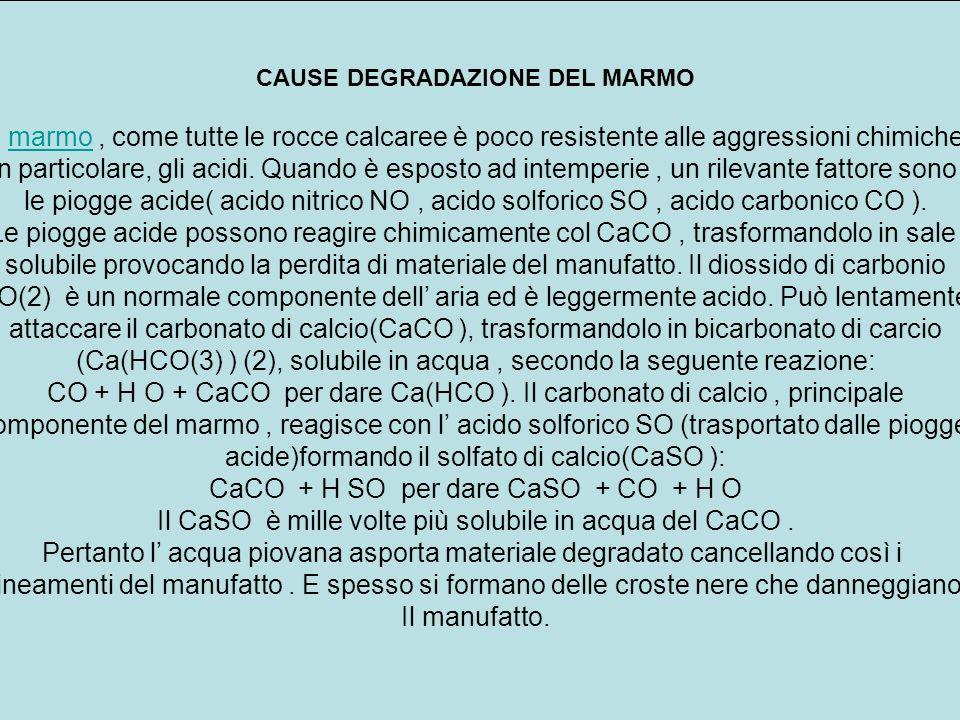 CAUSE DEGRADAZIONE DEL MARMO Il marmo, come tutte le rocce calcaree è poco resistente alle aggressioni chimichemarmo In particolare, gli acidi. Quando