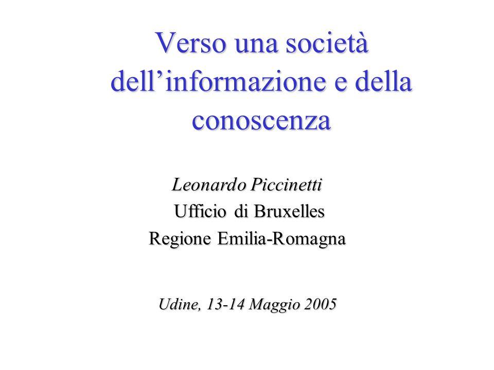 Leonardo Piccinetti Ufficio di Bruxelles Regione Emilia-Romagna Udine, 13-14 Maggio 2005 Verso una società dellinformazione e della conoscenza