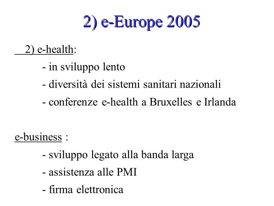 2) e-health: - in sviluppo lento - diversità dei sistemi sanitari nazionali - conferenze e-health a Bruxelles e Irlanda e-business : - sviluppo legato