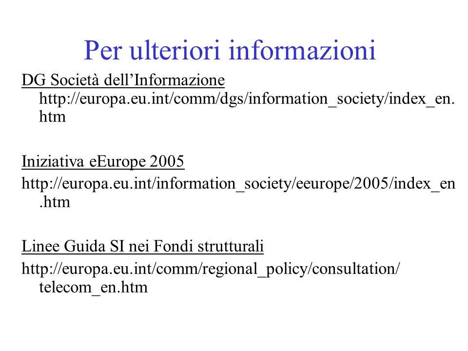 Per ulteriori informazioni DG Società dellInformazione http://europa.eu.int/comm/dgs/information_society/index_en. htm Iniziativa eEurope 2005 http://
