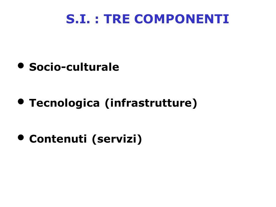 S.I. : TRE COMPONENTI Socio-culturale Tecnologica (infrastrutture) Contenuti (servizi)