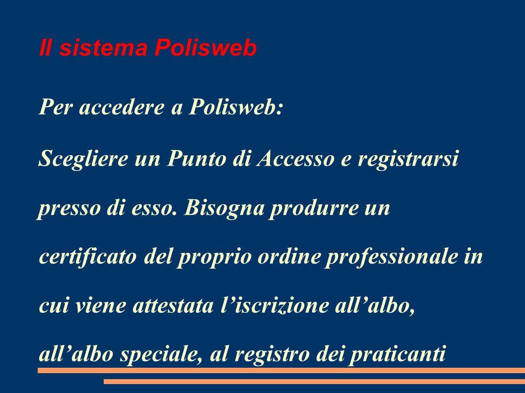 Il sistema Polisweb Per accedere a Polisweb: Scegliere un Punto di Accesso e registrarsi presso di esso.