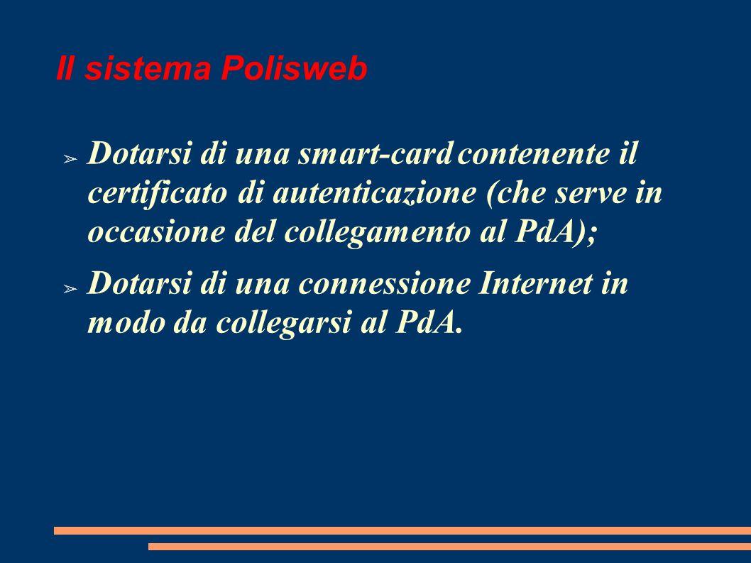 Il sistema Polisweb Dotarsi di una smart-card contenente il certificato di autenticazione (che serve in occasione del collegamento al PdA); Dotarsi di una connessione Internet in modo da collegarsi al PdA.