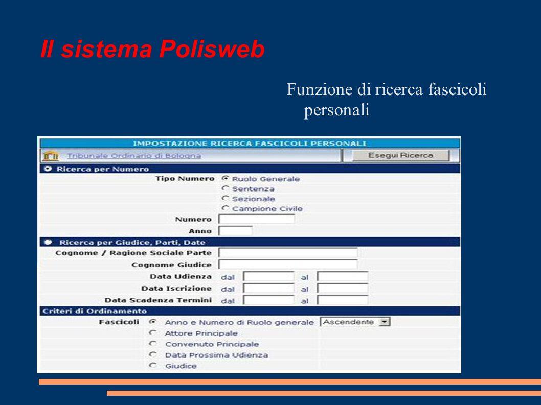Il sistema Polisweb Funzione di ricerca fascicoli personali