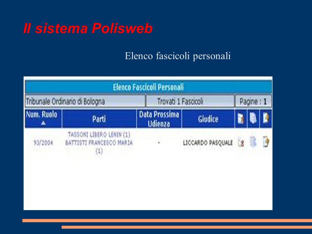 Il sistema Polisweb Elenco fascicoli personali