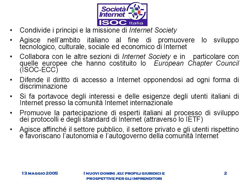 13 maggio 2005I nuovi domini.eu: profili giuridici e prospettive per gli imprenditori 2 Condivide i principi e la missione di Internet Society Agisce