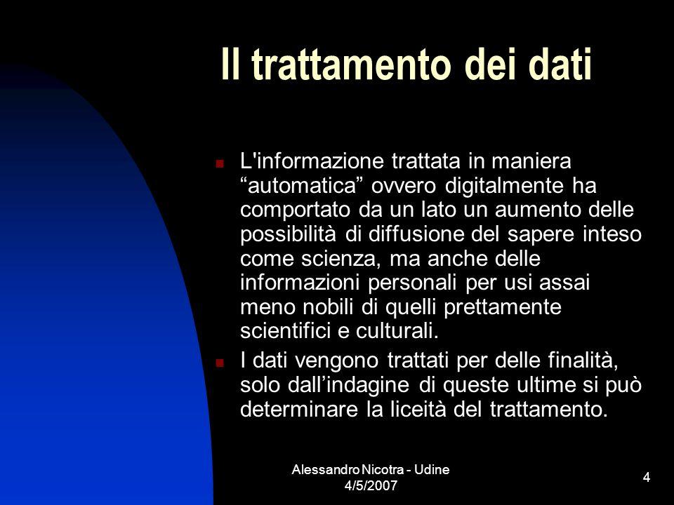 Alessandro Nicotra - Udine 4/5/2007 4 Il trattamento dei dati L'informazione trattata in maniera automatica ovvero digitalmente ha comportato da un la