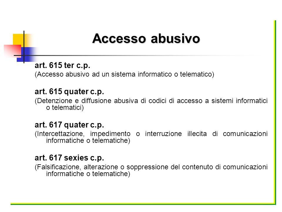 art. 615 ter c.p. (Accesso abusivo ad un sistema informatico o telematico) art. 615 quater c.p. (Detenzione e diffusione abusiva di codici di accesso