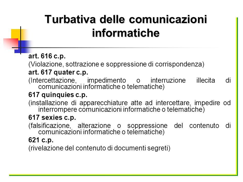 art. 616 c.p. (Violazione, sottrazione e soppressione di corrispondenza) art. 617 quater c.p. (Intercettazione, impedimento o interruzione illecita di