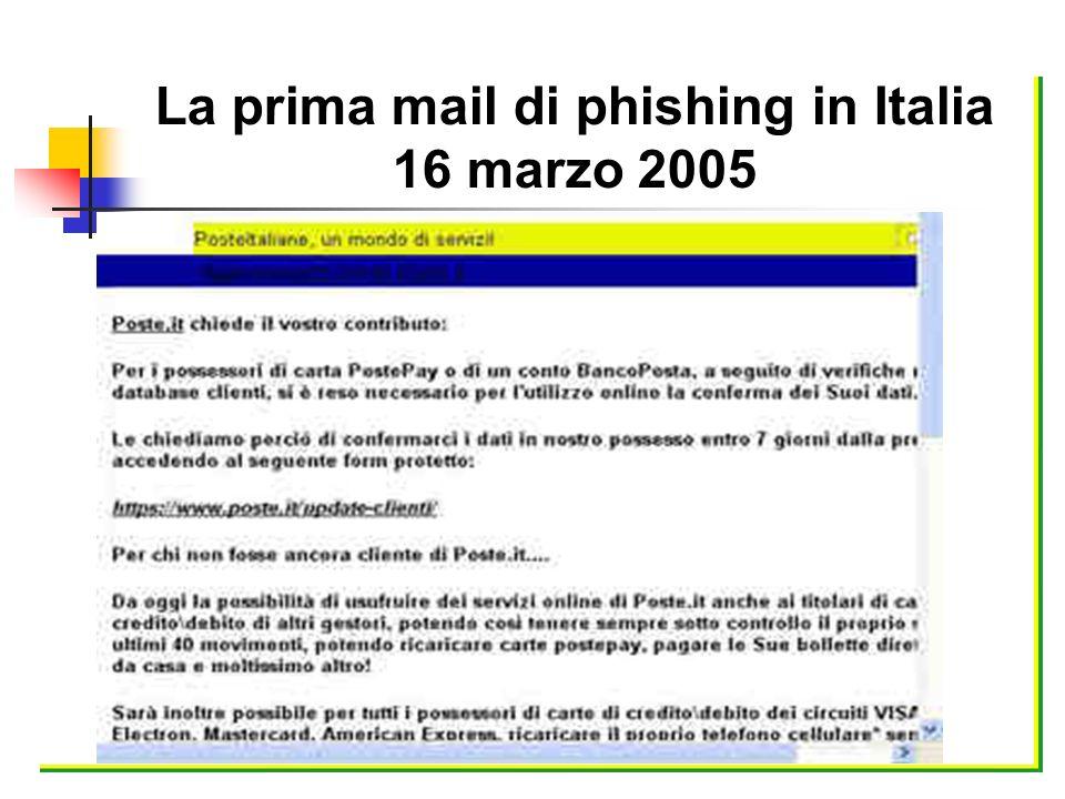 La prima mail di phishing in Italia 16 marzo 2005