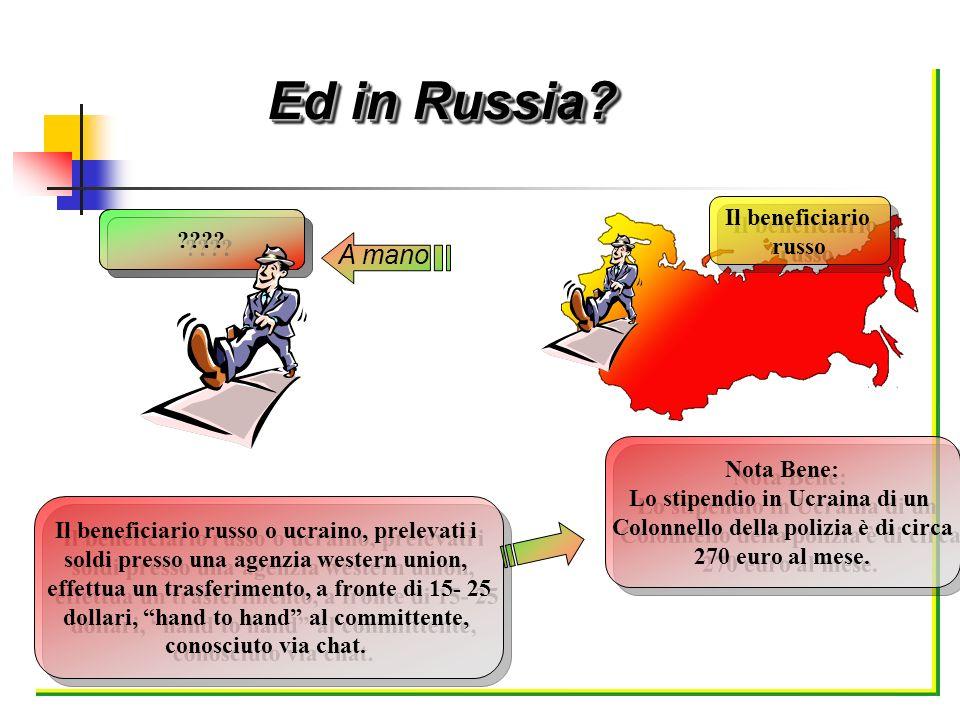 ???? A mano Il beneficiario russo Il beneficiario russo Il beneficiario russo o ucraino, prelevati i soldi presso una agenzia western union, effettua