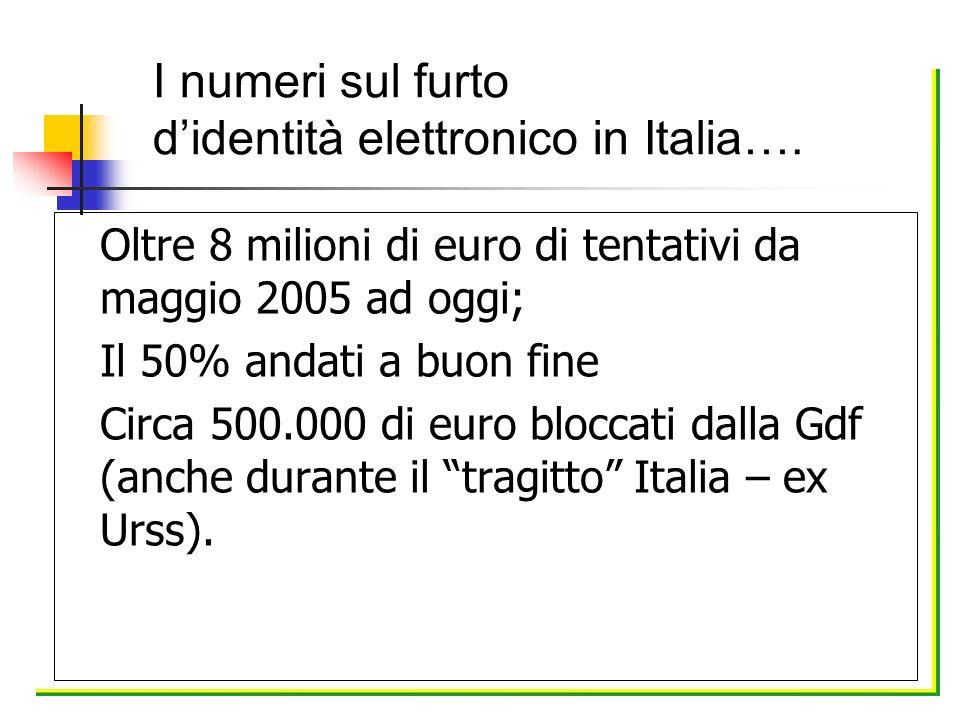 Oltre 8 milioni di euro di tentativi da maggio 2005 ad oggi; Il 50% andati a buon fine Circa 500.000 di euro bloccati dalla Gdf (anche durante il trag