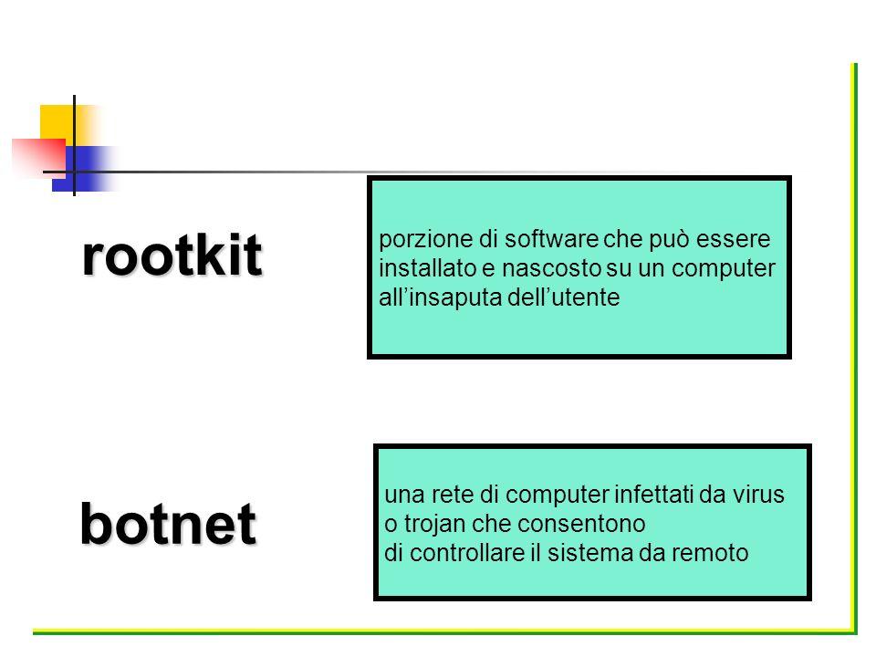 rootkit botnet porzione di software che può essere installato e nascosto su un computer allinsaputa dellutente una rete di computer infettati da virus