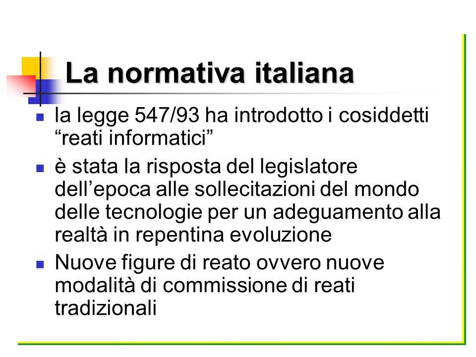 La normativa italiana la legge 547/93 ha introdotto i cosiddetti reati informatici è stata la risposta del legislatore dellepoca alle sollecitazioni d