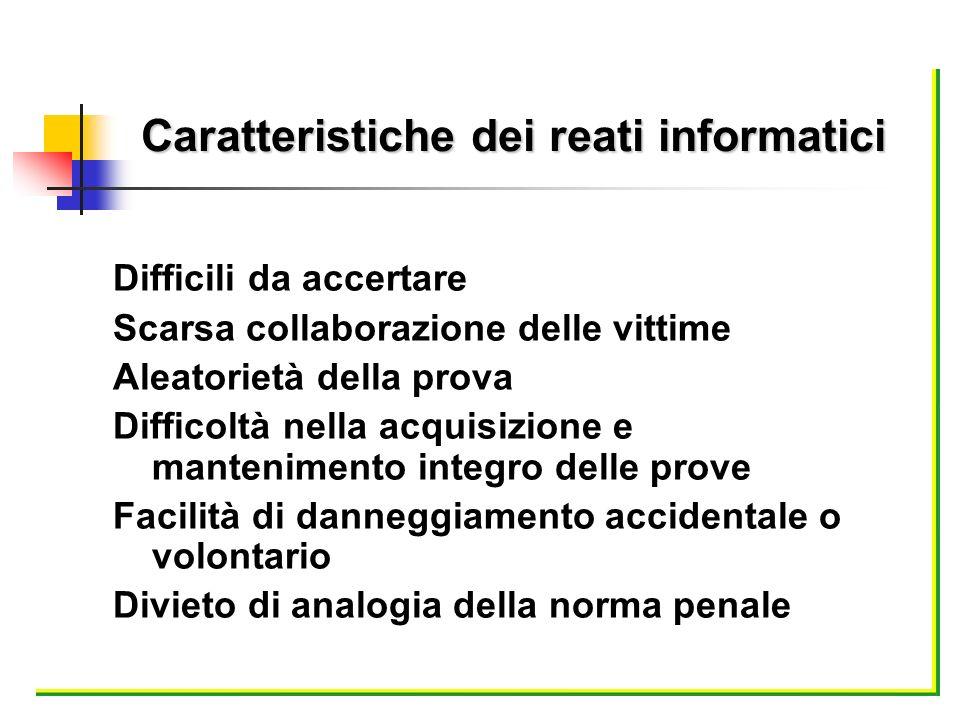 Difficili da accertare Scarsa collaborazione delle vittime Aleatorietà della prova Difficoltà nella acquisizione e mantenimento integro delle prove Fa