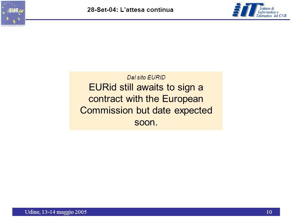 Istituto di Telematica del CNR Informatica e Udine, 13-14 maggio 200510 28-Set-04: Lattesa continua Dal sito EURID EURid still awaits to sign a contra