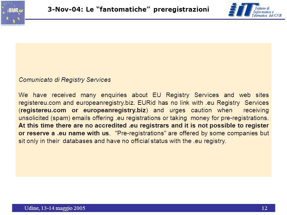 Istituto di Telematica del CNR Informatica e Udine, 13-14 maggio 200512 3-Nov-04: Le fantomatiche preregistrazioni Comunicato di Registry Services We